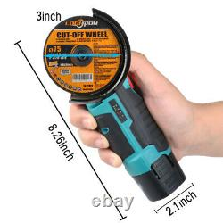 12V Mini Electric Angle Grinder Cordless 3 Grinding Cutting Power Tool Kit 500W