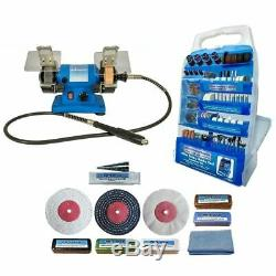 Mini Bench Grinder 120W With 400pc Accessory Set & Metal Polishing Kit