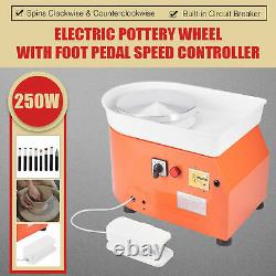 Mini Pottery Wheel Kit Art Set for DIY Crafts with Clay Tools Foot Pedal Orange