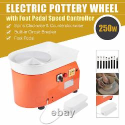 Mini Pottery Wheel Machine Kit Art Set for DIY Crafts w Clay Tools Foot Pedal