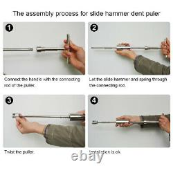 Paintless Dent/Hail Removal Repair Puller Lifter Hammer Push Rods Tools Tail Kit