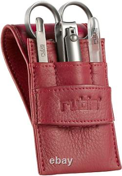 Rubis Manicure Set Red Leather 4 Piece Tool Kit with Cuticle Scissors Mini