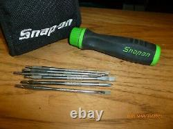 USED -DISCONTINUED Snap on tools mini ratcheting screwdriver kit-pouch GREEN